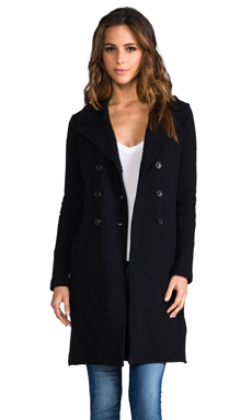 James Perse Long Fleece Military Coat in Black