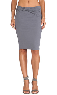 James Perse High Gauge Jersey Twisted Skirt in Quarry