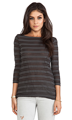 James Perse Jewel Neck Stripe Top in Charcoal