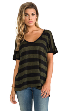 James Perse Camper Stripe Tee in Black/Camper