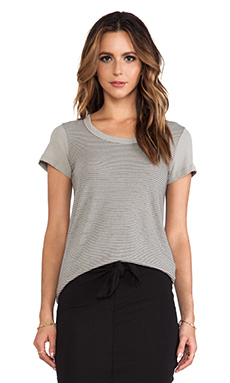 James Perse Stripe Scoop Neck Boy Tee in Shadow