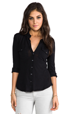 James Perse Slub 3/4 Sleeve Button Front Shirt in Black