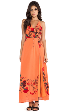 JARLO Adora Maxi Dress in Orange Floral