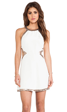 Jay Godfrey Lynch Dress in Ivory & Rosegold