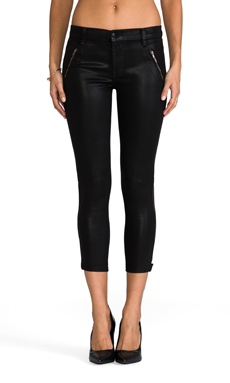 J Brand Carey Moto Coated Skinny in Lacquered Black Quartz