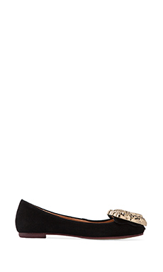 Jeffrey Campbell Big Leo Suede Ballet Flat in Black/Gold
