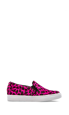Jeffrey Campbell Alva Sneaker with Calf Fur in Red Cheetah