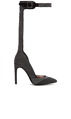 Jeffrey Campbell Back Up Heel en Daim Noir & Argent