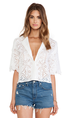 Jenni Kayne Cropped Blouse in White