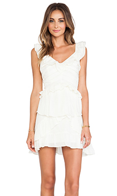JOA Ruffle Detail Dress in Ivory