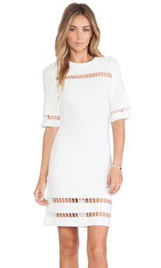 JOA Short Sleeve Dress in Ivory