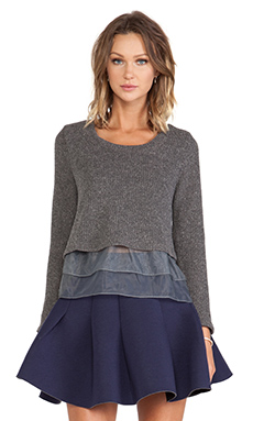 JOA Organza Sweater in Charcoal