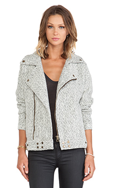 JOA Biker Jacket in Ivory & Black