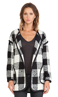 JOA Checker Coat in Black & White