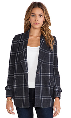 JOA Classic Checked Collar Jacket in Charcoal
