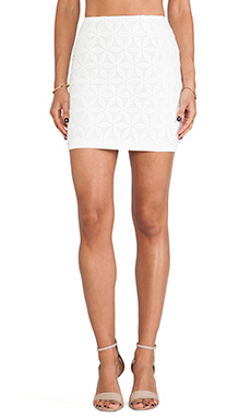 JOA Organza Lace Mini Skirt in White