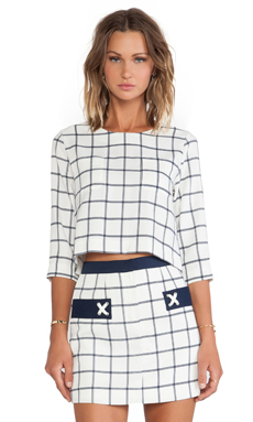JOA Plaid Woven Top in Ivory & Navy