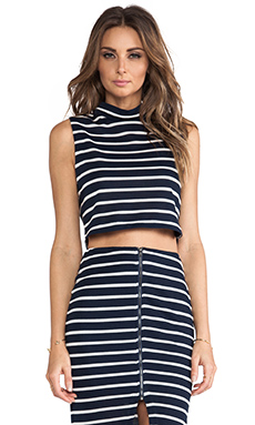JOA Striped Standing Neck Crop Top