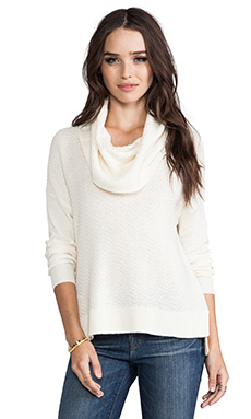 Joie Dimensional Chevron Knit Chesney Sweater in Chalk