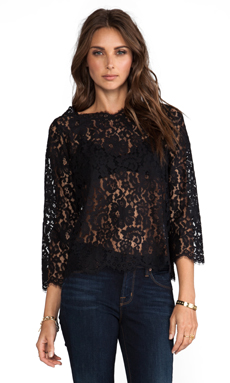 Joie Allover Lace Elvia C Top in Caviar