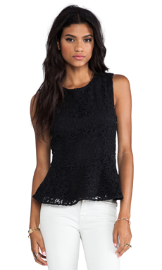 Joie Heavy Cotton Lace Shian Tank in Caviar