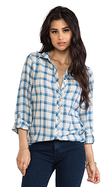 Joie Moshina b Grungy Plaid Blouse in Nineties Blue