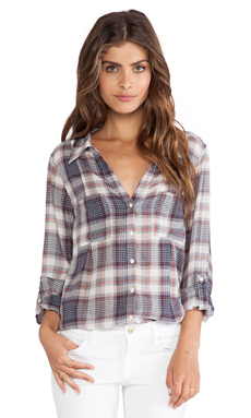 Joie Cartel Plaid Blouse in Dark Navy