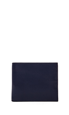 Jack Spade Wesson Leather Bill Holder Wallet in Blue/Black & White