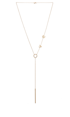Jennifer Zeuner LOVE Lariat Necklace in Gold