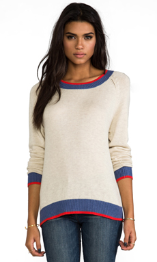 Kain Pierce Sweater in Ivory & Denim & Cherry Red