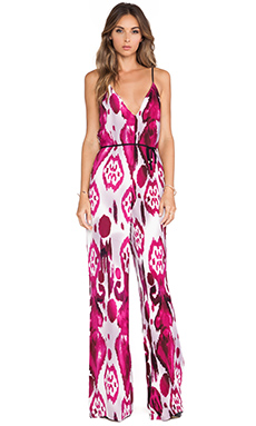Karina Grimaldi Enterizo Printed Jumpsuit in Mauve Calico