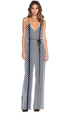 Karina Grimaldi Enterizo Printed Jumpsuit in White Maddison