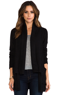 Kingsley Shawl Collar Cable Cardi in Black