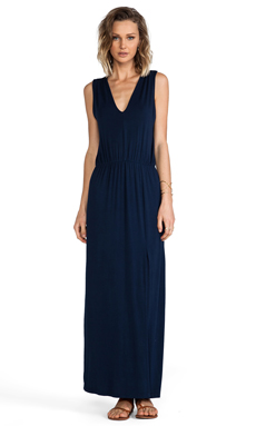 krisa Shirred V Maxi Dress in Navy