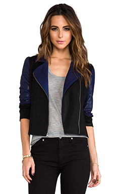 krisa Colorblock Moto Jacket in Black & Navy