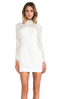 keepsake Run the World Long Sleeve Dress in Ivory Lace