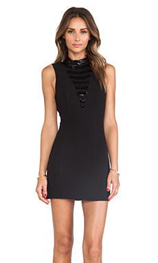 Keepsake Ticket to Ride Dress in Black/Black Beading