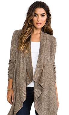 LA Made Open Front Long Cardigan in Umber