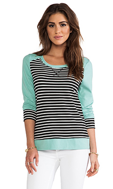 LA Made Colorblocked Striped 3/4 Pullover in Stripe & Mint