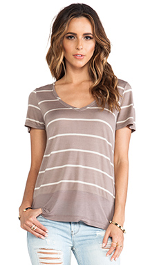 LA Made Short Sleeve Low V-Neck Top in Taupe