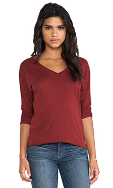Lanston Oversized 3/4 Sleeve V Tee in Wine