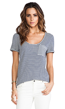 Lanston Pocket Tee in Double Face Stripe