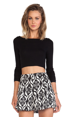 Lanston Cropped Boatneck Long Sleeve in Black