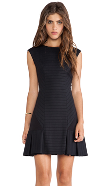 LaPina Carina Bandage Stretch Dress in Black & Black Leather