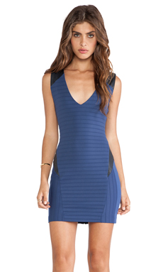 LaPina Kristen Bandage Stretch Dress in Denim & Navy