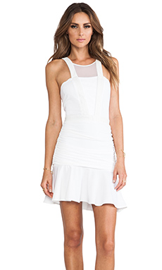 LaPina by David Helwani by David Helwani Lisa Dress in White/White Leather