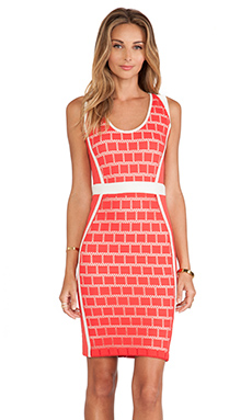 LaPina by David Helwani Alexis Crochet Dress in Coral & Cream Leather