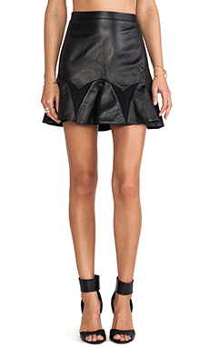 LaPina by David Helwani by David Helwani Audrey Leather Skirt in Black/Black