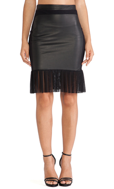 LaPina Simone Skirt in Black & Black Leather