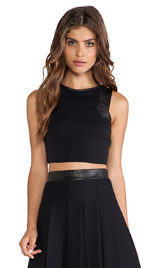 LaPina Adrianne Crop Top in Black & Black Leather